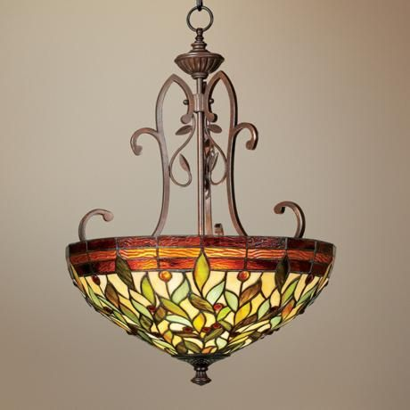 Robert louis tiffany 18 wide two light pendant chandelier 200 robert louis tiffany wide two light pendant chandelier nature themed tiffany pendant lamps were a hallmark of the arts crafts movement aloadofball Gallery