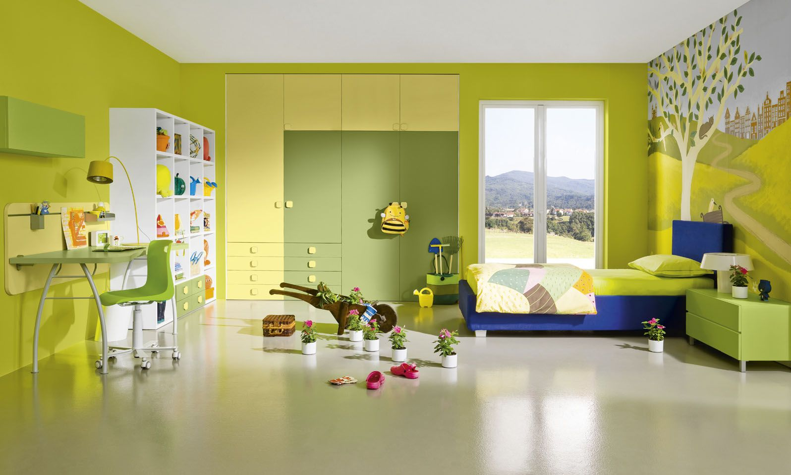 Green wall painting colors for boy bedroom interior with workspace ...