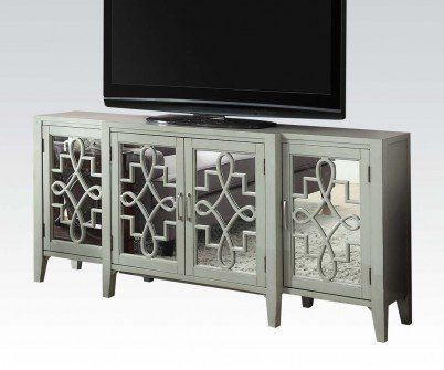acme furniture kacia 90190 72 console table with 4 mirrored doors