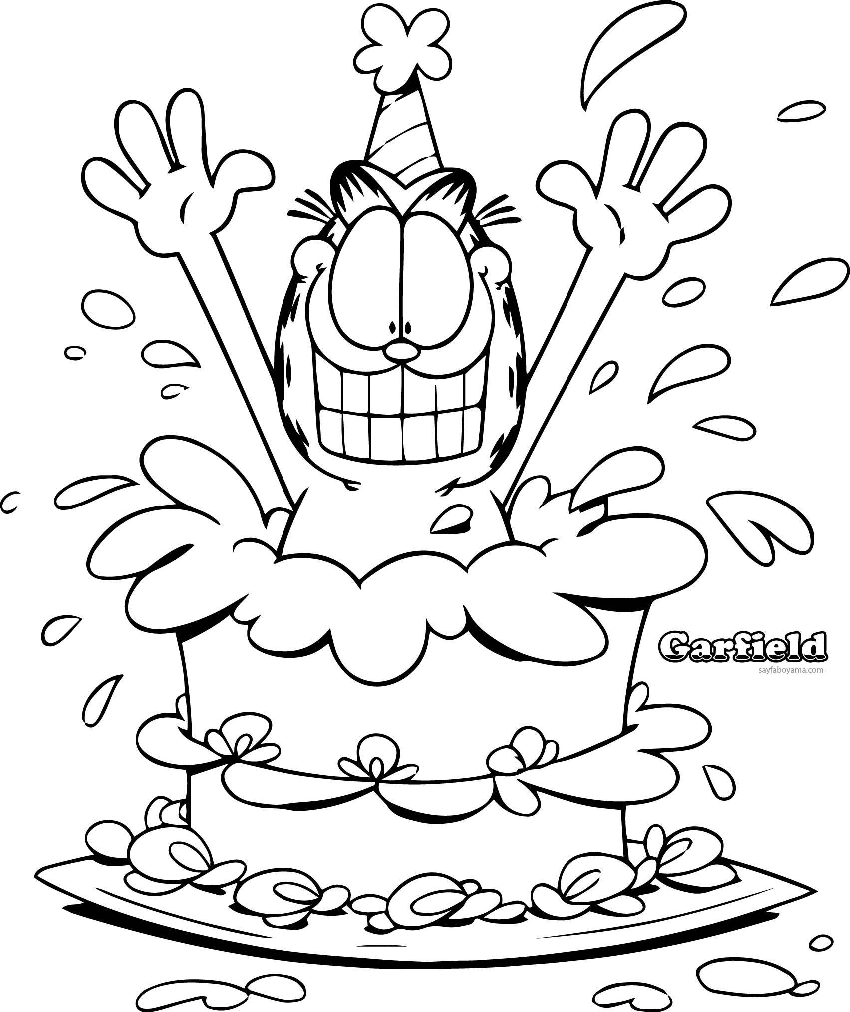 Garfield Dogum Gunu Suprizi Boyama Sayfasi Boyama Kitaplari