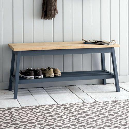 Stylish Oak And Charcoal Painted Beech Wood Hallway Bench With Shoe Shelf Below Per
