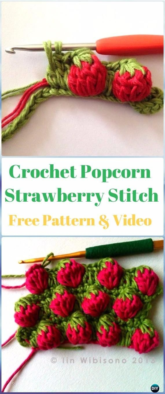 Crochet Popcorn Strawberry Stitch Free Pattern-Crochet Strawberry ...
