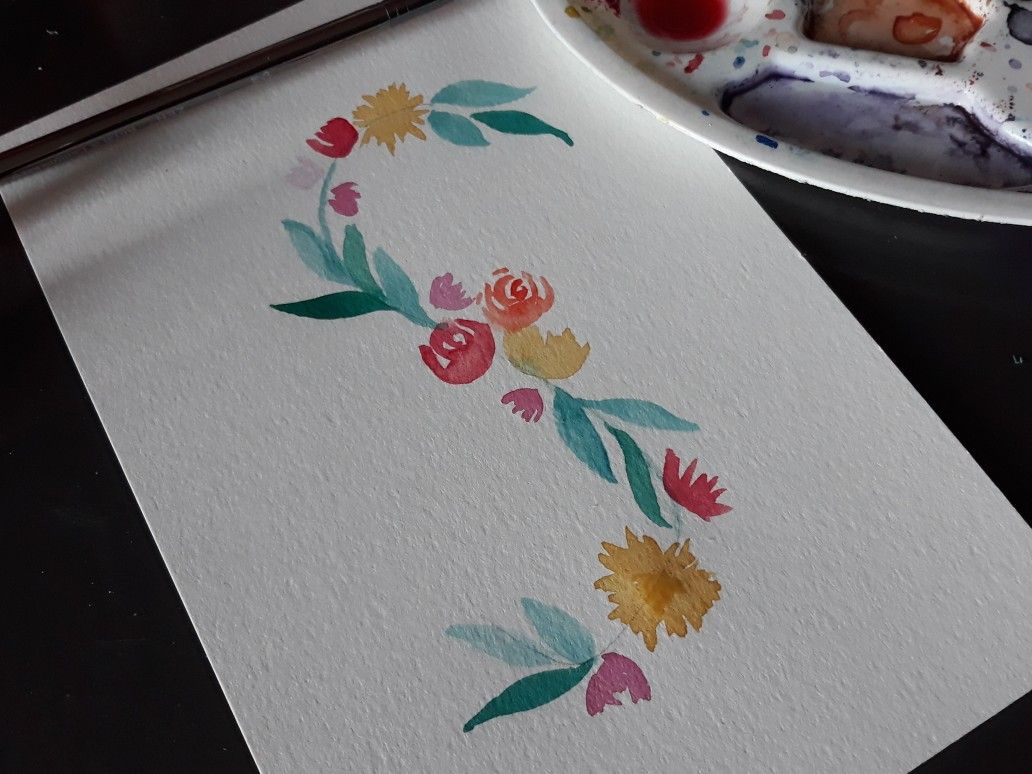 Title Avec Images Papier Aquarelle Petits Dessins Aquarelle