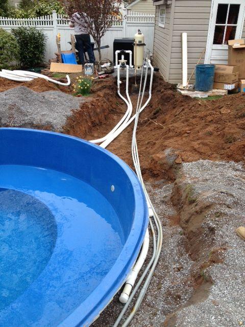 Fiberglass Pool Plumbing : Plumbing and electric run to pad stubbed up