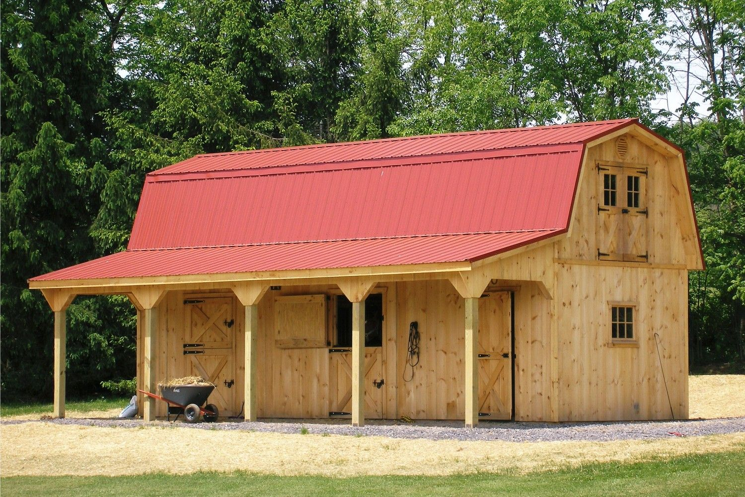 Post Beam Horse Barns Run In Shed Row Rancher With Overhang Center Aisle Horse Barn The Barn Yard Great Cou Building A Shed Roof Run In Shed Barn Roof