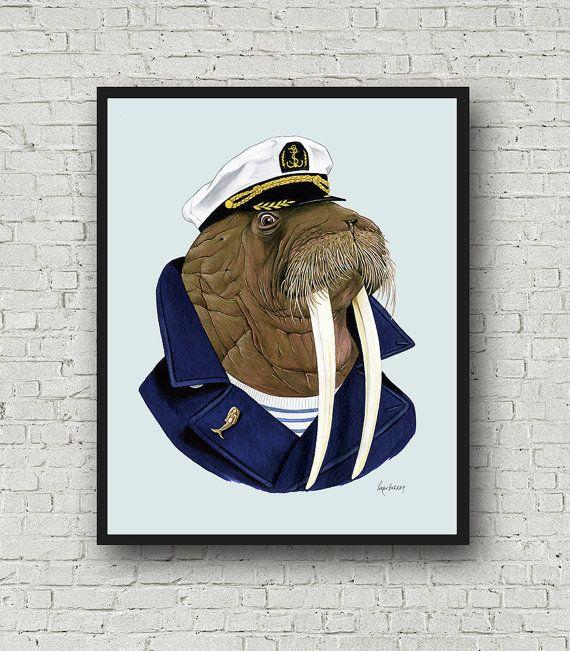 Oversized Walrus Sea Captain Print Ryan Berkley Ilration 16x20 Or 20x28 Modern Decor