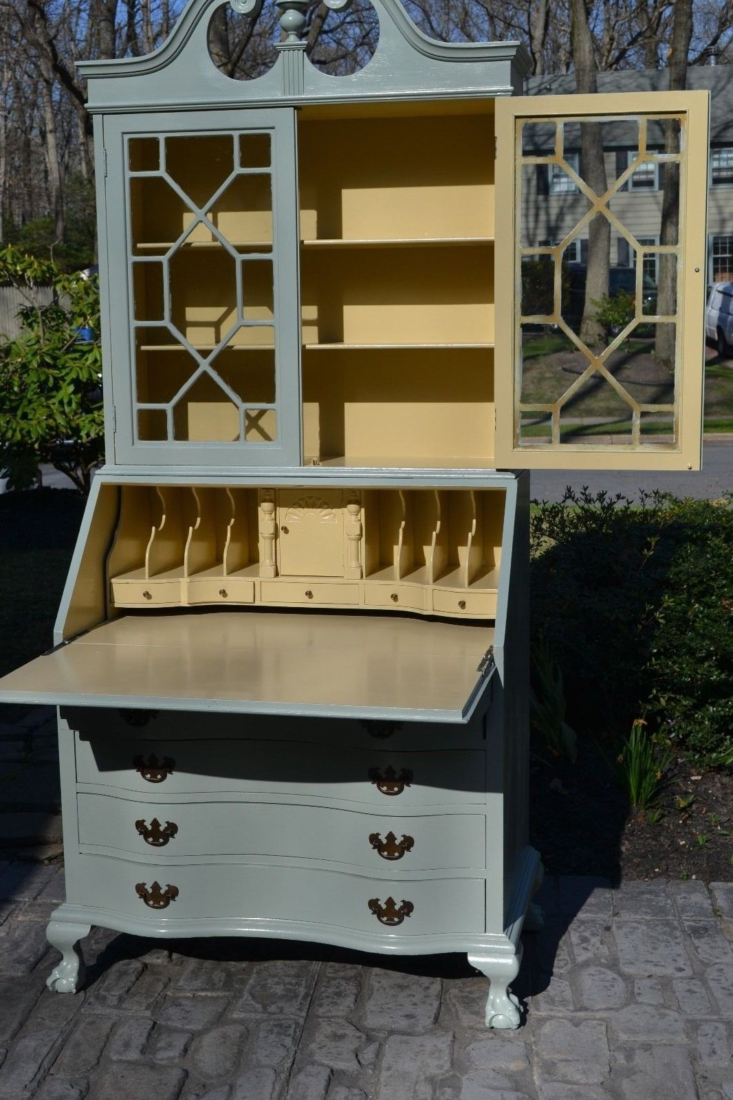 Bookcase Desk Shabby Chic Painted Ball And Claw Feet