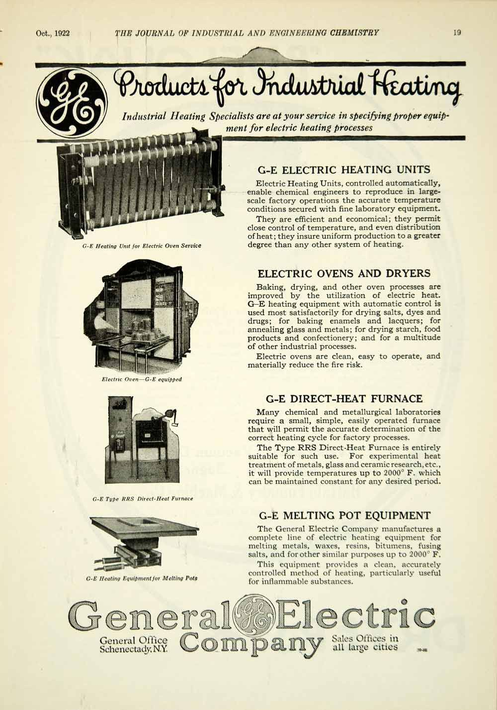 1922 Ad General Electric GE Industrial Heating Oven Dryer
