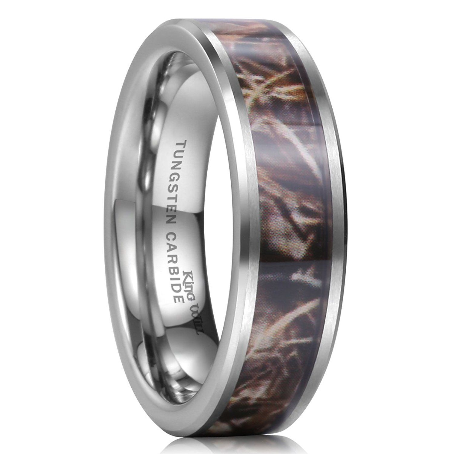 hunting wedding bands King Will 8mm Camouflage Hunting Mens Tungsten Ring Camo Polished Wedding Band Trees Leaves