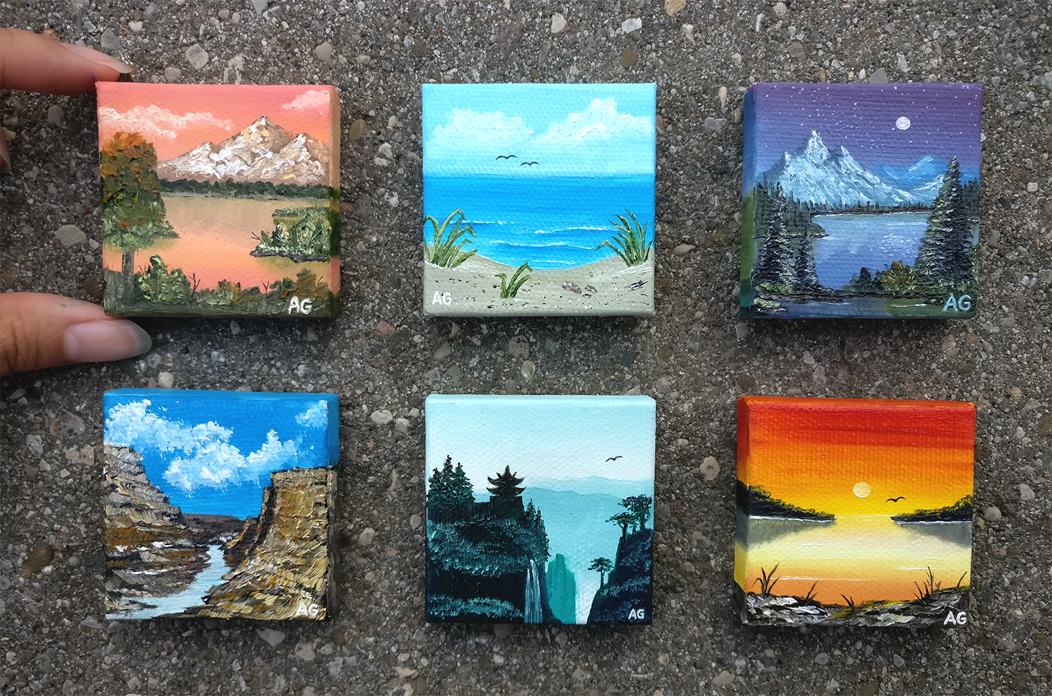 Mini canvases oil paint bob ross 2x2 inches http ift tt 2bzwq4m