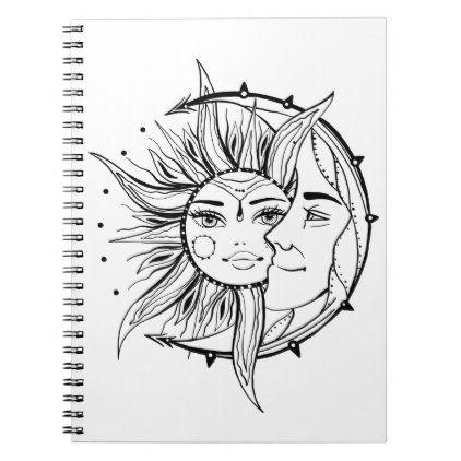 Moon and sun. Vintage style tattoo illustration Notebook | Zazzle.com