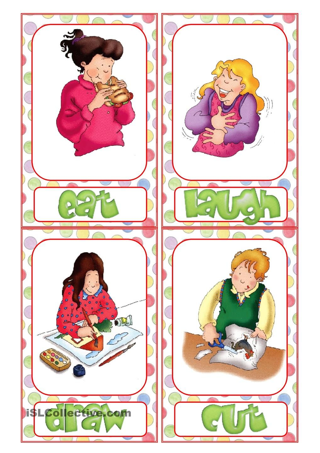 Action Verb Flashcards | action verbs | Pinterest