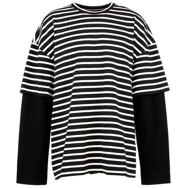 J 'ARCHIVE' embroidered stripe oversized long sleeve T-shirt ($360