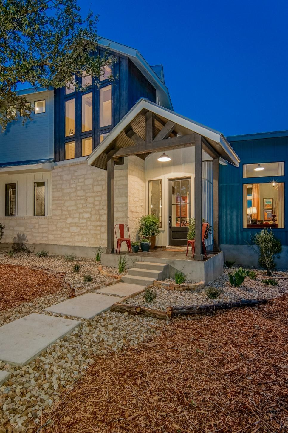 Blue Contemporary Country Farmhouse With Reclaimed Wood