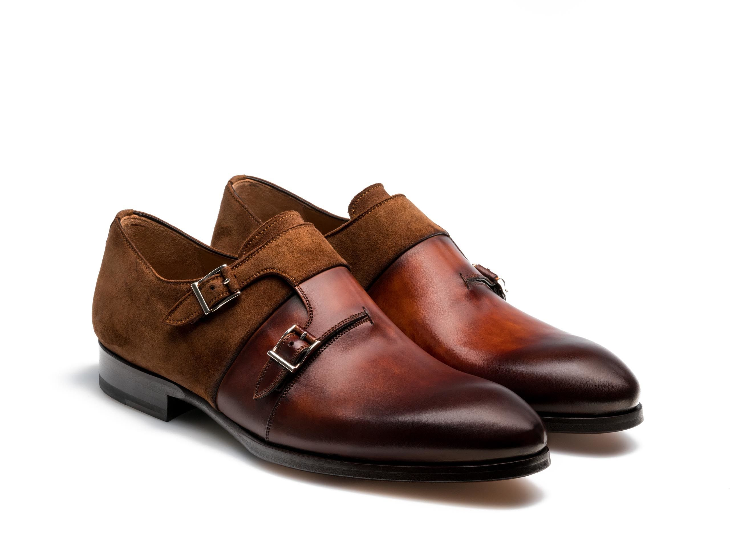 1a06408fcf2 Cognac brown suede leather double monk strap shoes for men - Magnanni