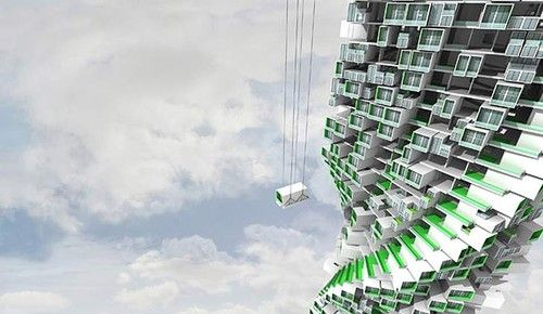 futuristic, Modular Jenga Tower, green architecture, building, eco ...