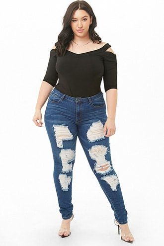 49d7172b28b0 Plus Size Distressed Skinny Jeans | Products in 2019 | Distressed ...
