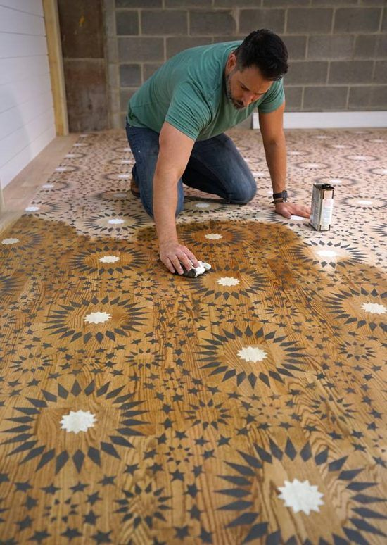 Learn How Weaber Lumber Stenciled A Hardwood Floor Using The Ambrosia Moroccan Tile Stencil From Cutting