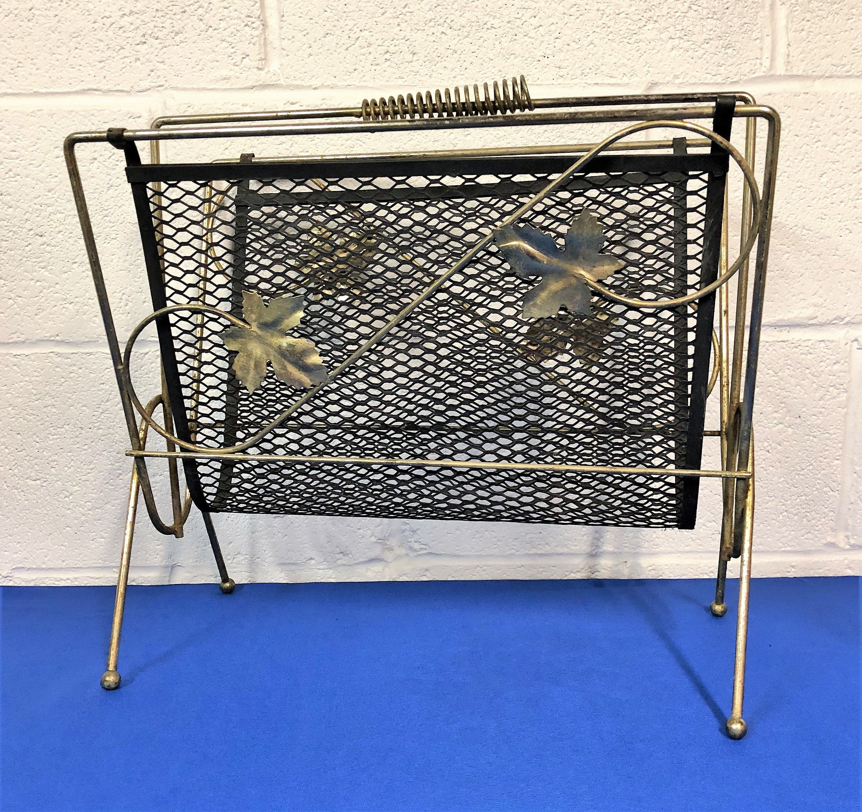 Mid Century Gold Tone Wire Mesh Magazine Rack Holder With Leaf Accents Black Metal Screen With Design Metal Screen Metal Screen Doors Black Metal
