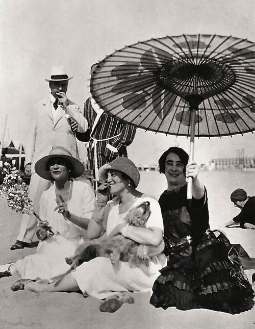 Happy Summer! Coco Chanel (far left) and Friends at the Lido, c.1925