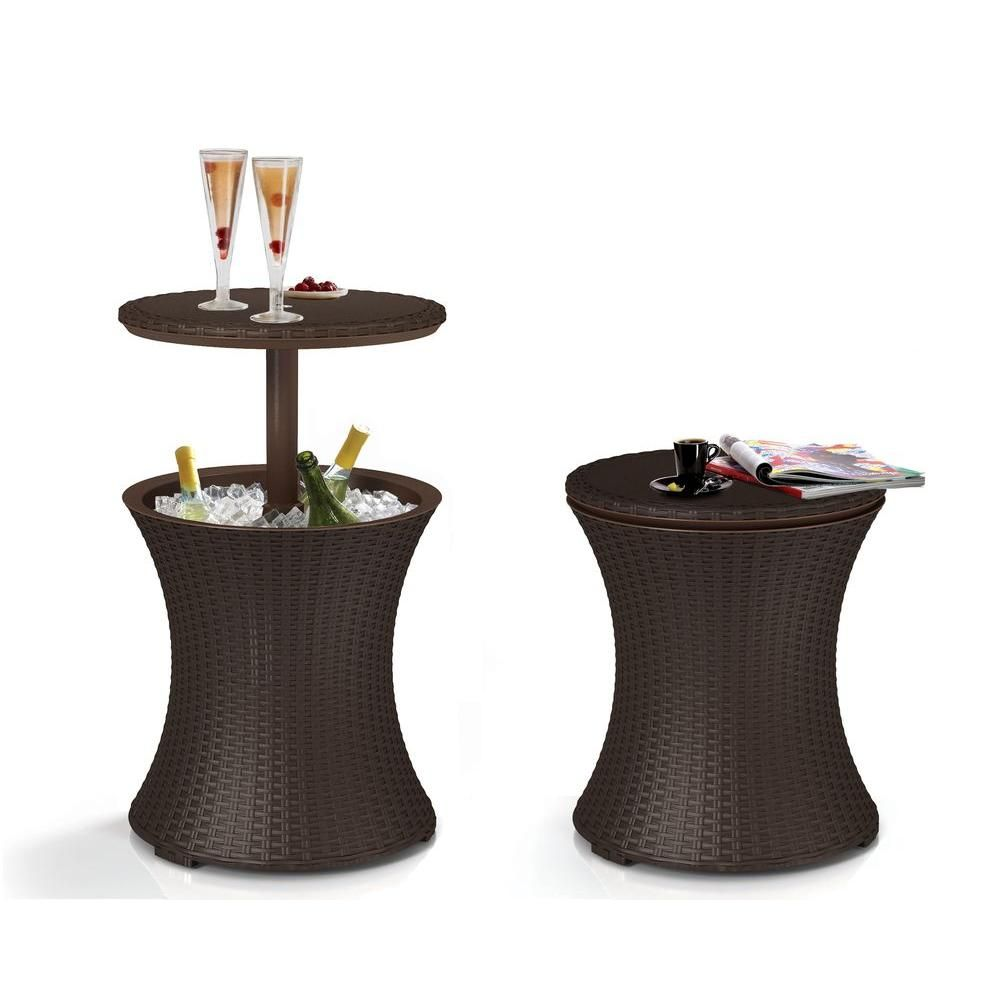 Keter Cool Bar 7.5 Gal. Resin Rattan Drink Cooler Patio Table 218305   The