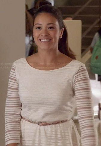 jane s white sheer striped dress on jane the virgin chic fashion