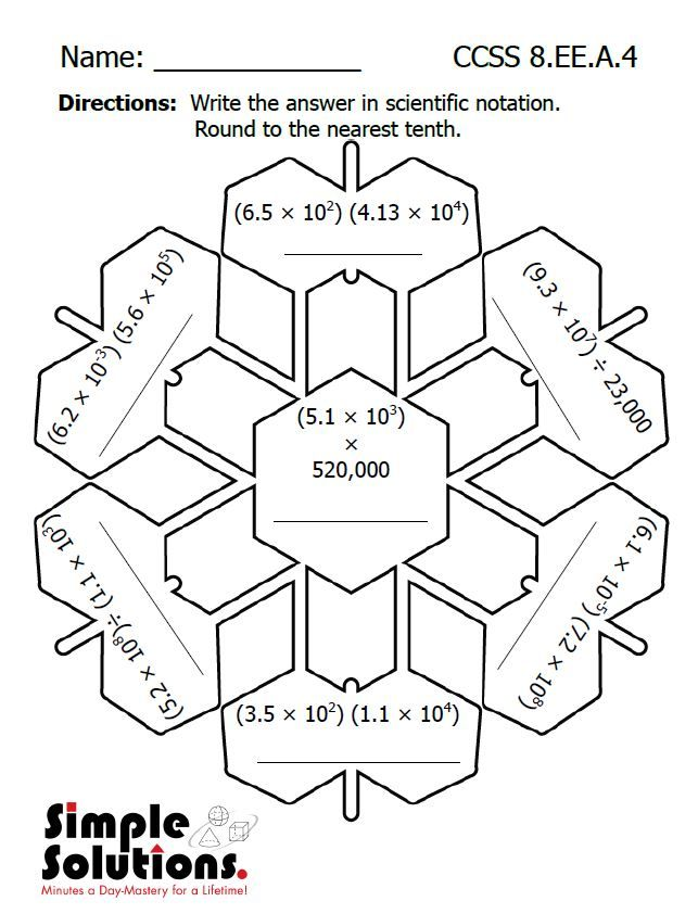 Eighth Grade Math Worksheet Free Download Math Snow Ccss Http Summersolutions Net Blo 8th Grade Math Fun Math Worksheets Scientific Notation Worksheet