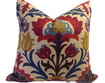 Cinnamon and Brown Floral Lumbar Pillow Cover  12 x 24  Designer Indoor Outdoor Fabric  Handmade Home Decor Accent Pillow  In Stock