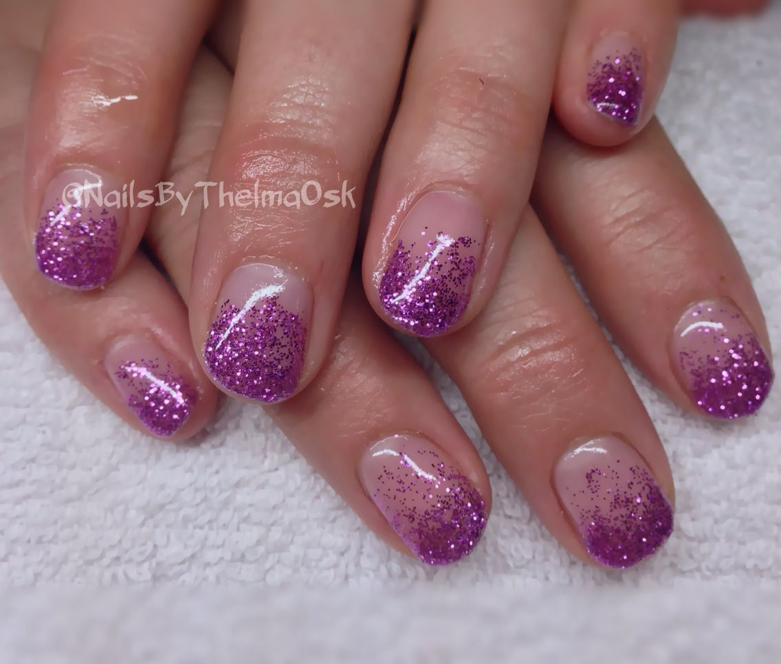 Purple glitter fade out wedding gel nails in natural nails | Lovely ...