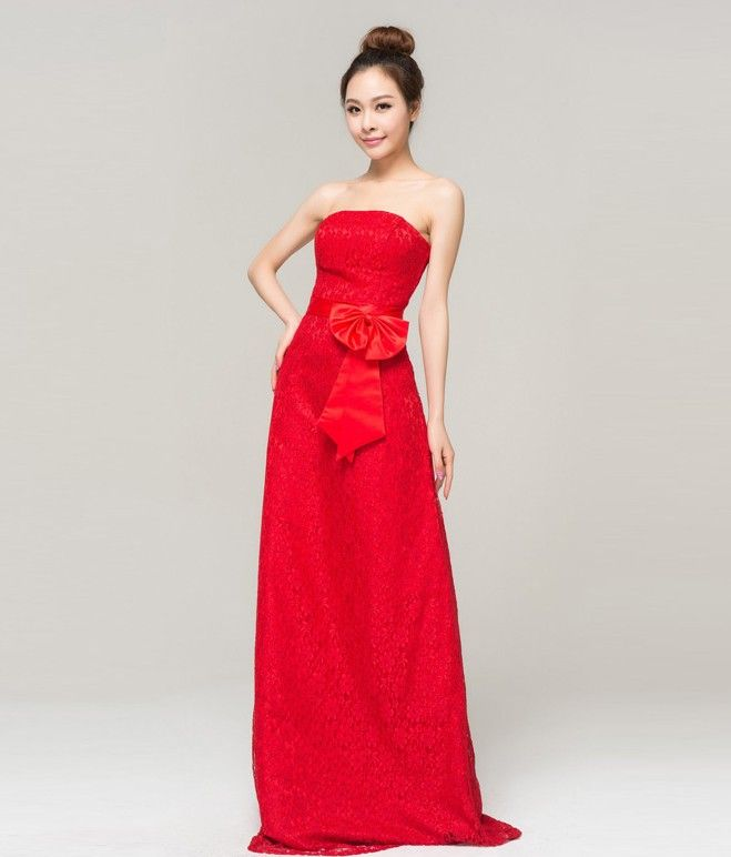 New Style Qi Pao Women S Pageant Red Cheongsam Embroidery Wedding