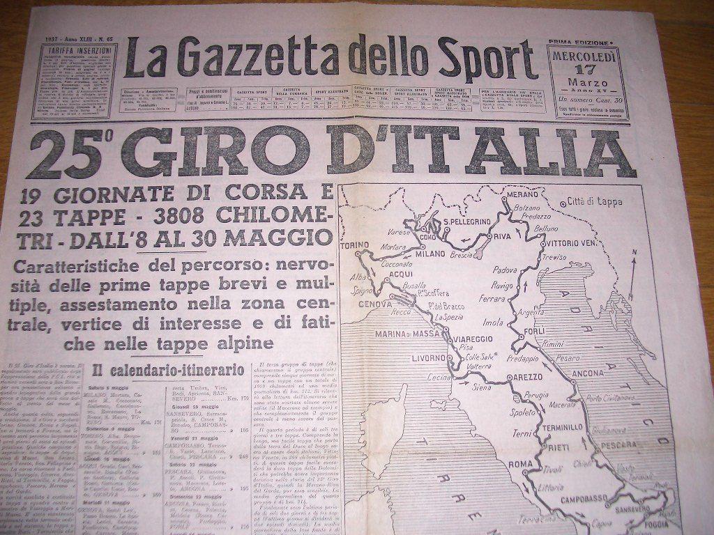 La Gazzetta Dello Sport 1937 Giro D Italia Ebay Sport