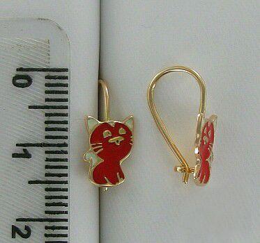 """Серьги """"Котик"""" Красное золото, 585 пробы, 1.25 г."""