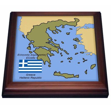 3dRose The map and flag of Greece with Greece and Hellenic Republic printed in English and Greek., Trivet with Ceramic Tile, 8 by 8-inch