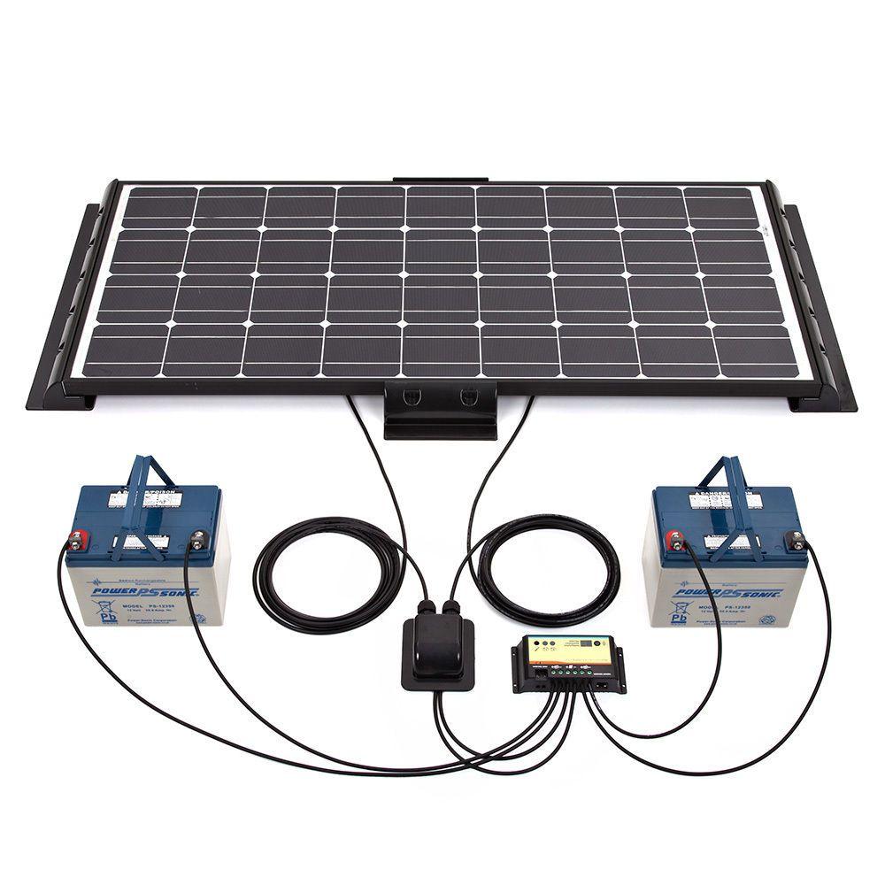Biard 100w 10 amp dual battery 12v black solar panel kit