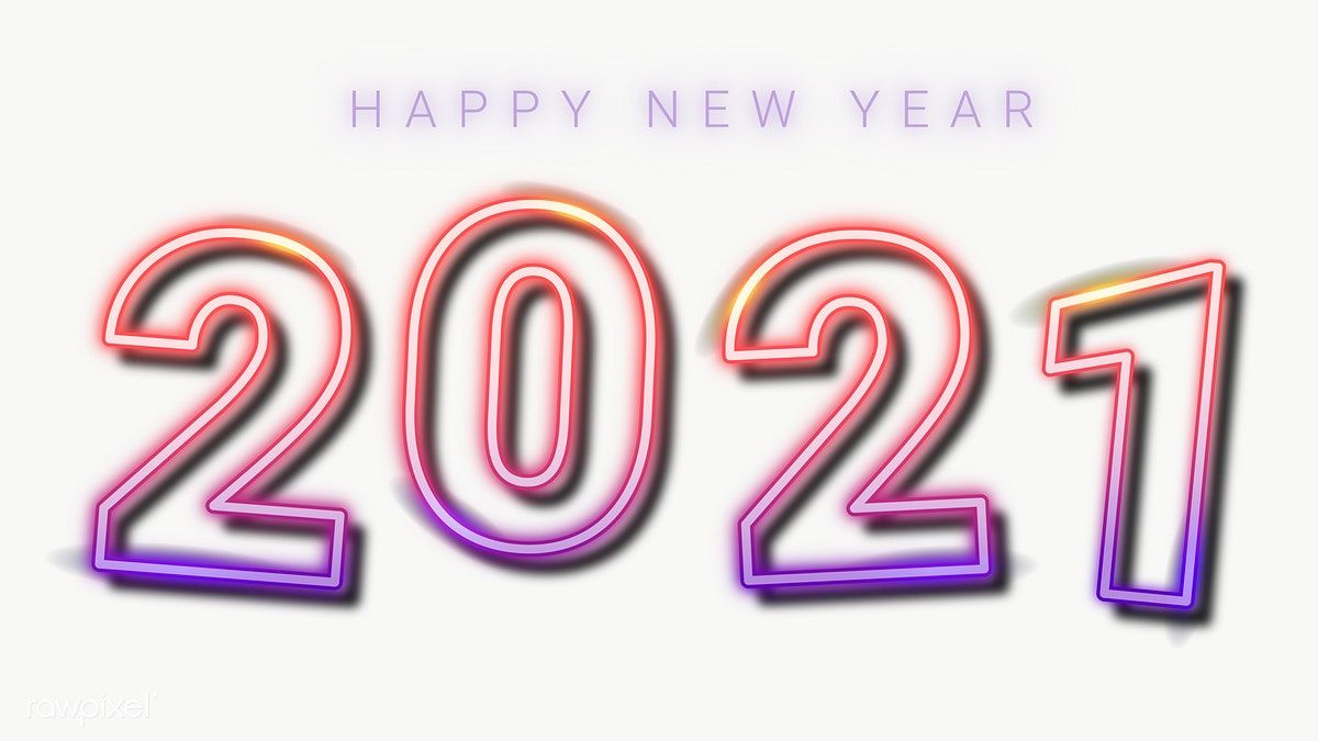 Download premium png of Neon happy new year 2021 wallpaper