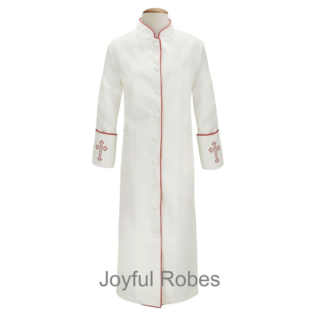 Ultra Premium Deluxe Fluted White Clergy Robe//Pastor Robe