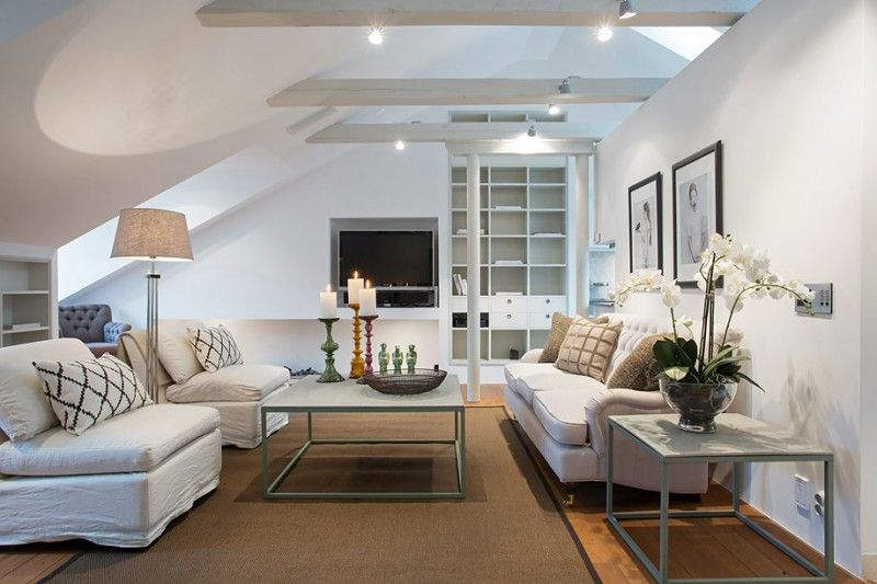 Idea Apartment Set Up Roof Sloped Living Room White Couch Armchair  Removable Cushions