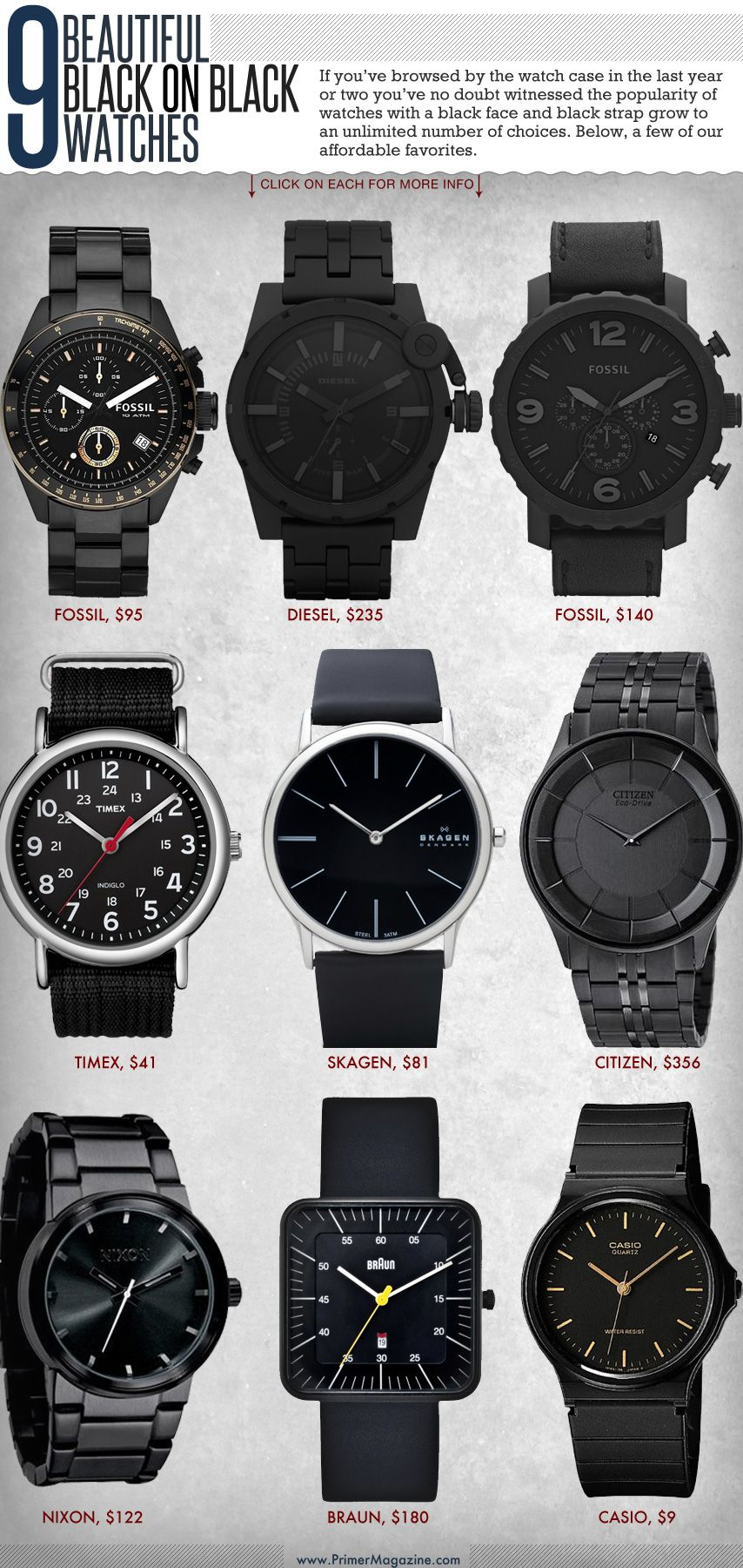 9 Beautiful Black on Black Watches | Black watch, Watches