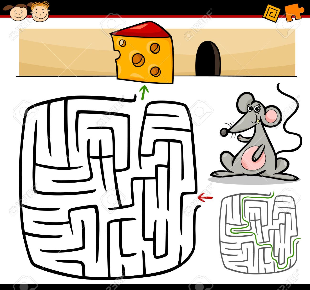Cartoon Illustration Of Education Maze Or Labyrinth Game For ...