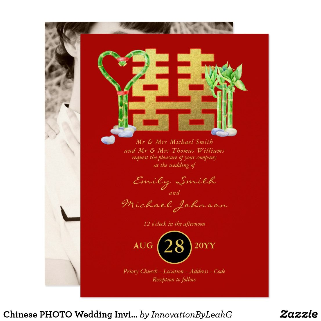 Chinese PHOTO Wedding Invite Lucky Bamboo   Trending Wedding Themes ...