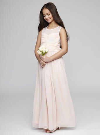 Long Blush Bridesmaid Dresses | Teen Bridesmaid Llusion Neckline Blush Dress Long Beautiful
