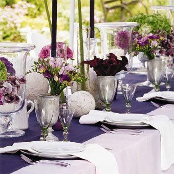 inspiration: outdoor special occasion table setting   Purple wedding ...