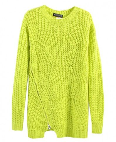 Zipper Hem Hollow Out Knitting Pullover