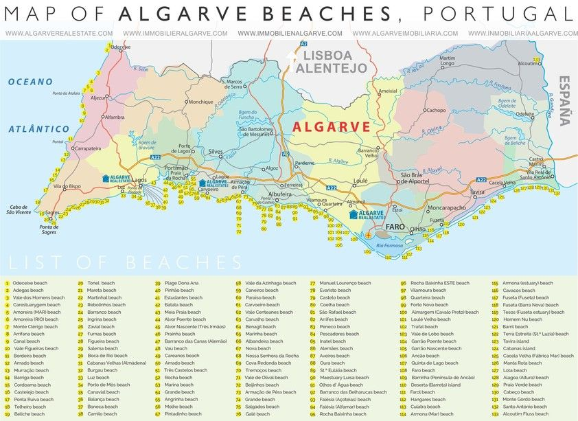 Download Map In Pdf Format Herealgarve Beach Mapthe Algarve
