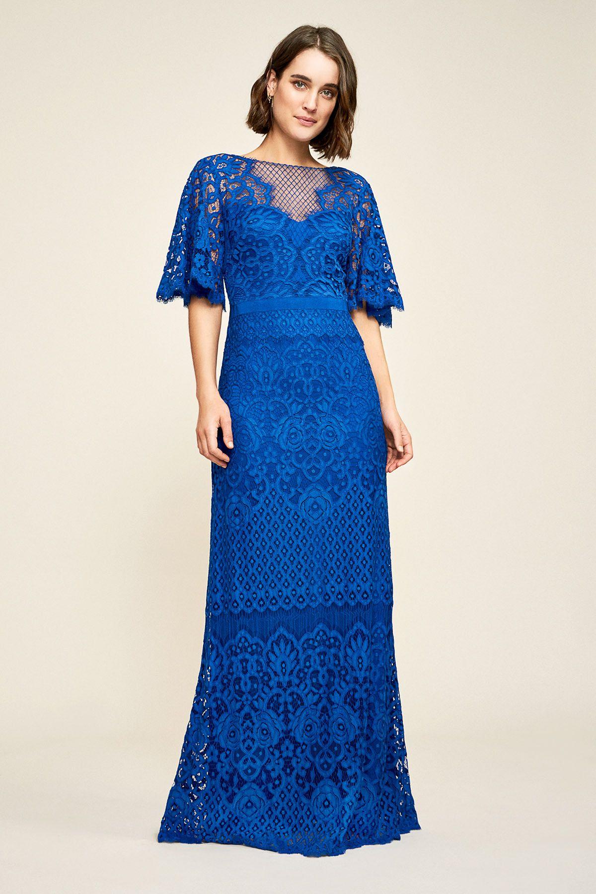 Malina flutter sleeve lace gown tadashi shoji lace