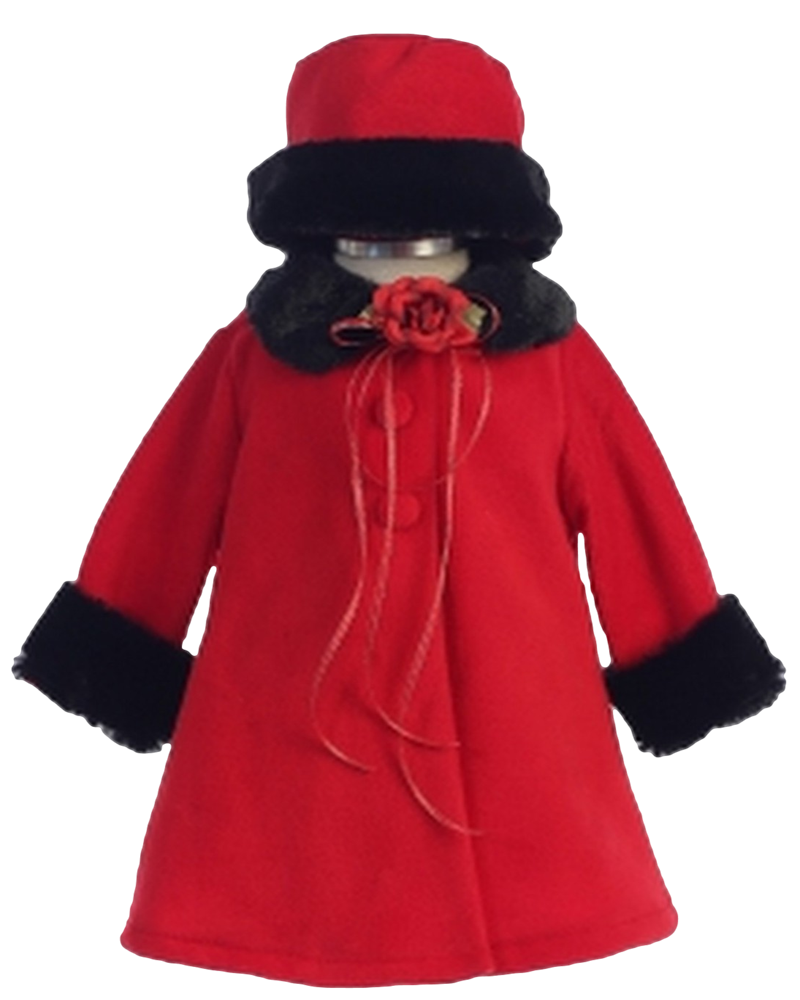 80e1bf65f Red Fleece & Black Fur Trim Dress Coat with Matching Fur Trimmed Hat (Baby  Girls)