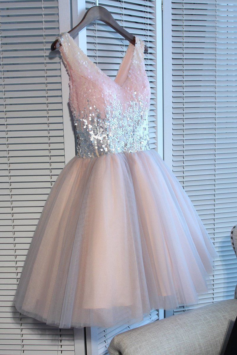 Sparkly v neck sequin cute short pink homecoming dresses cm