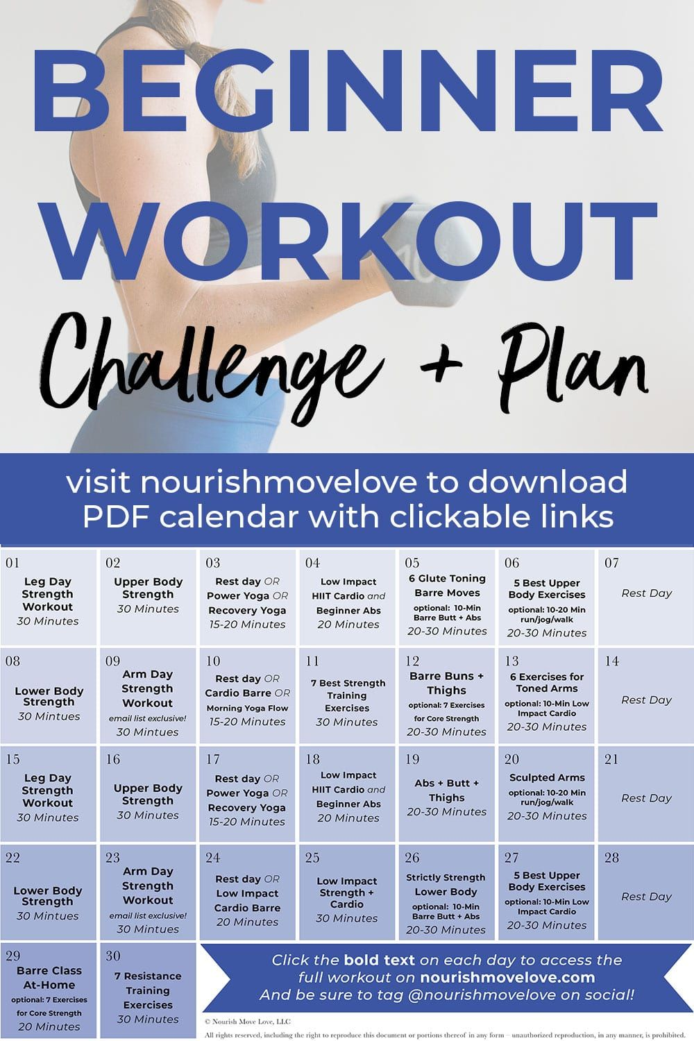 Get Fit With This Free 30 Day Fitness Challenge This Beginner Workout Routine Is Focused Beginner Workout Workout Plan For Beginners 30 Day Workout Challenge