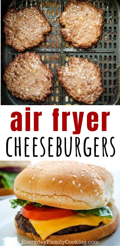 Super easy air fryer hamburgers and cheeseburgers