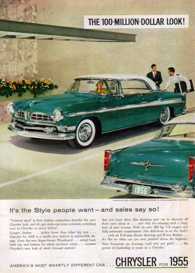Magazine Ad1955 Chrysler New Yorker Deluxe Cool old